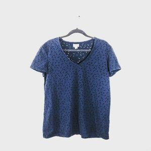 3/$25 CASLON Translucent Moon Cutout Tee Navy